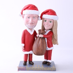 Picture of Custom Bobblehead Doll: Santa Couple Holding Gift Bag