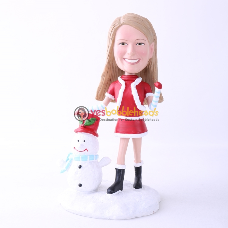 Picture of Custom Bobblehead Doll: Santa Girl With Snowman