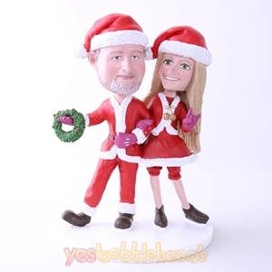 Picture of Custom Bobblehead Doll: Santa Couple Hand In Hand