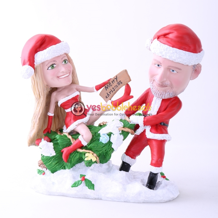 Picture of Custom Bobblehead Doll: Santa Couple Merry Christmas