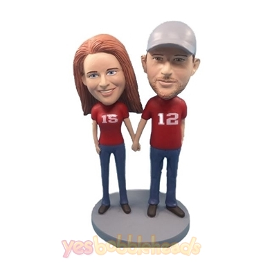 Picture of Custom Bobblehead Doll: Casual Couple Hands in Hands