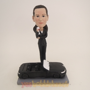 Picture of Custom Bobblehead Doll: Cool Young Lady Standing Beside Sports Car