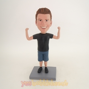 Picture of Custom Bobblehead Doll: Man Showing Muscle Posture