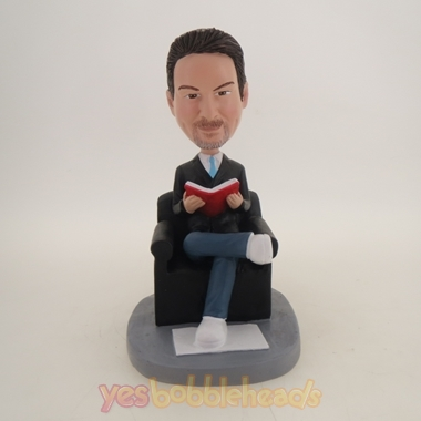 Picture of Custom Bobblehead Doll: Man Reading in Sofa