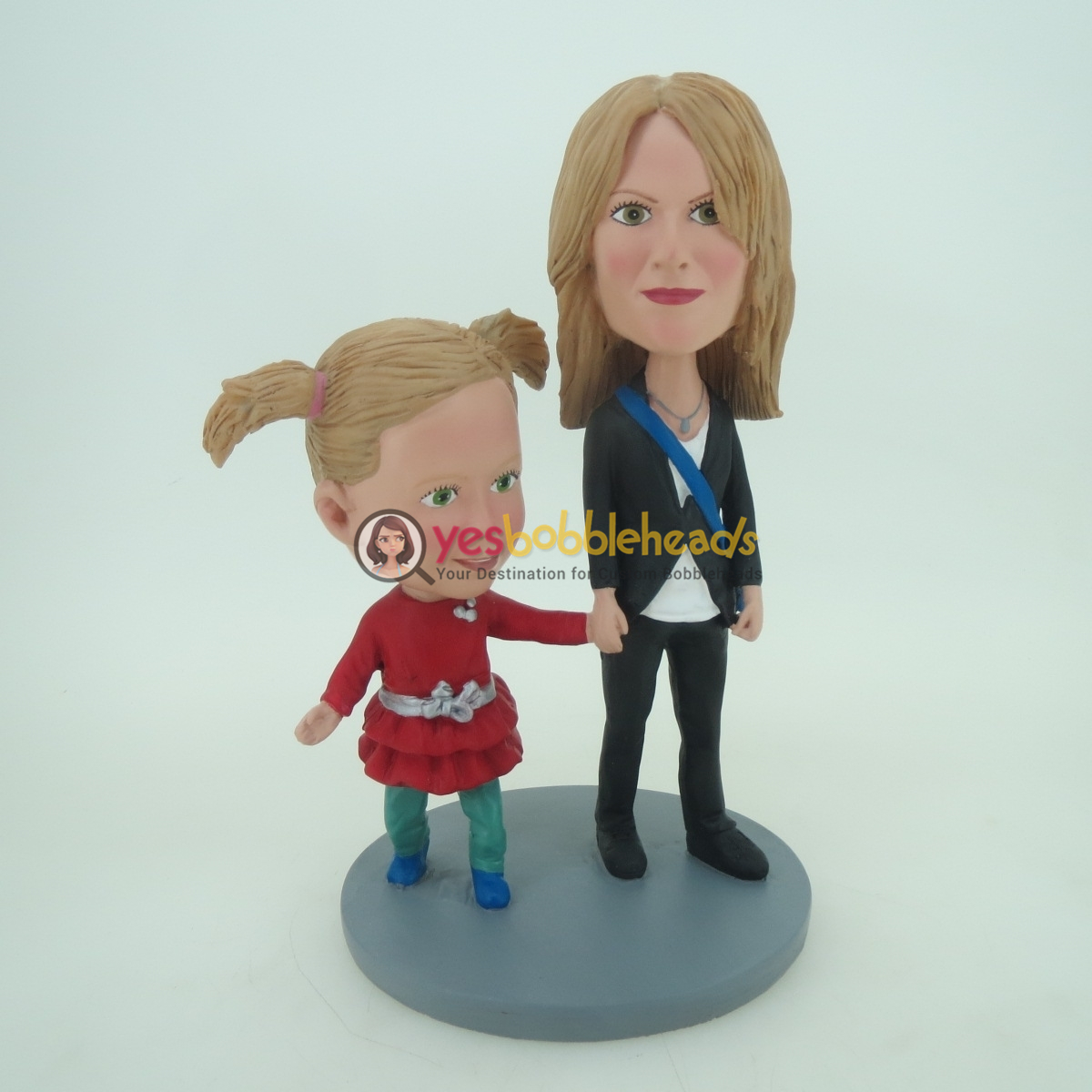 Picture of Custom Bobblehead Doll: Mother & Daughter Hand in Hand