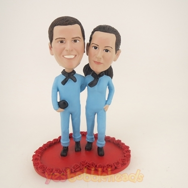 Picture of Custom Bobblehead Doll: Couple in Lovers Clothing