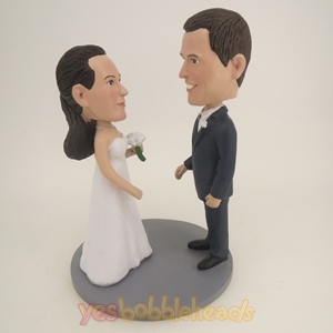 Picture of Custom Bobblehead Doll: Couple Face to Face on Wedding