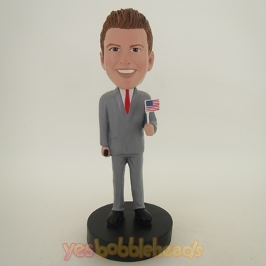 Picture of Custom Bobblehead Doll: Man Holding American Flag