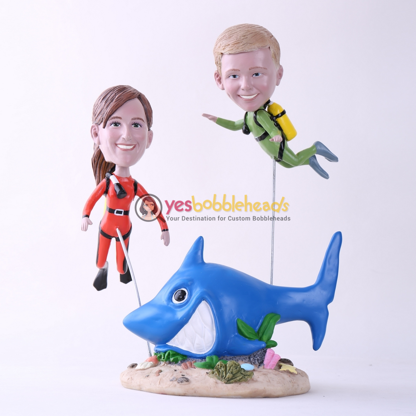 Picture of Custom Bobblehead Doll: Scuba Diving Mother & Son