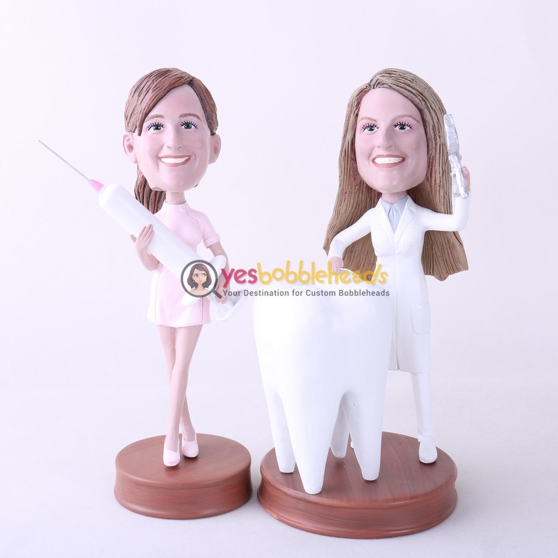 Picture of Custom Bobblehead Doll: Female Dentist & Nurse