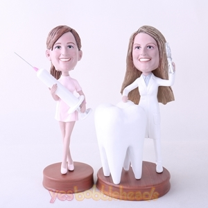 Picture of Custom Bobblehead Doll: Female Dentist & Nurse