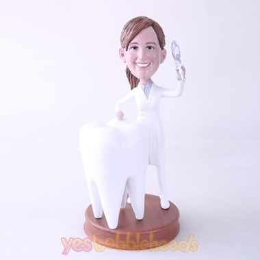 Picture of Custom Bobblehead Doll: Female Dentist with Big Tooth