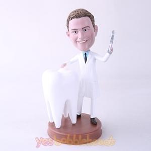 Picture of Custom Bobblehead Doll: Male Dentist with Big Tooth