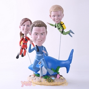 Picture of Custom Bobblehead Doll: Family of Scuba Diving