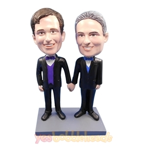 Picture of Custom Bobblehead Doll: Male Couple for Wedding
