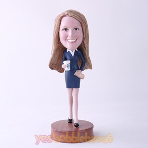 Picture of Custom Bobblehead Doll: Office Woman Holding Coffee