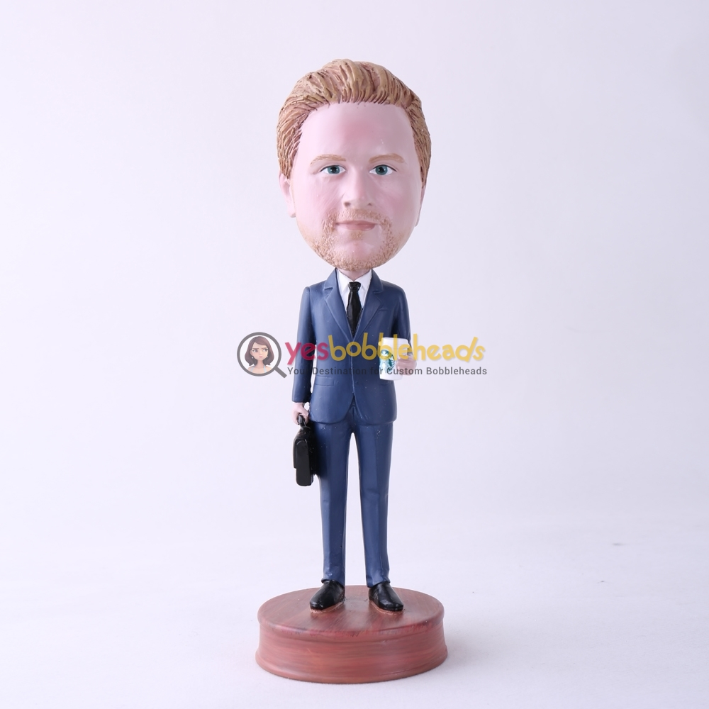 Picture of Custom Bobblehead Doll: Office Man Holding Coffee