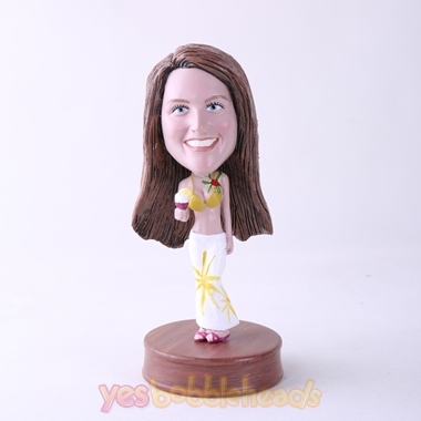 Picture of Custom Bobblehead Doll: Casual Woman Holding Ice Cream