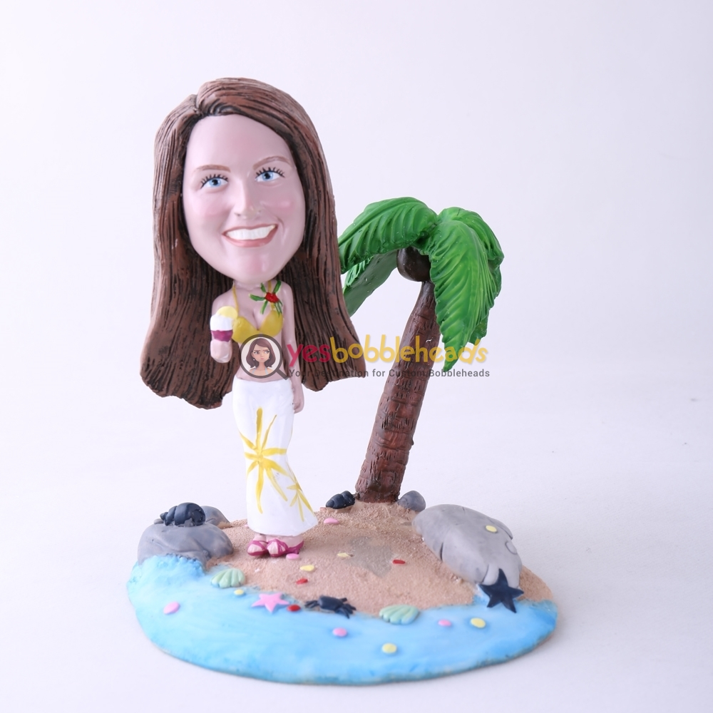 Picture of Custom Bobblehead Doll: Casual Woman Holding Ice Cream On Beach