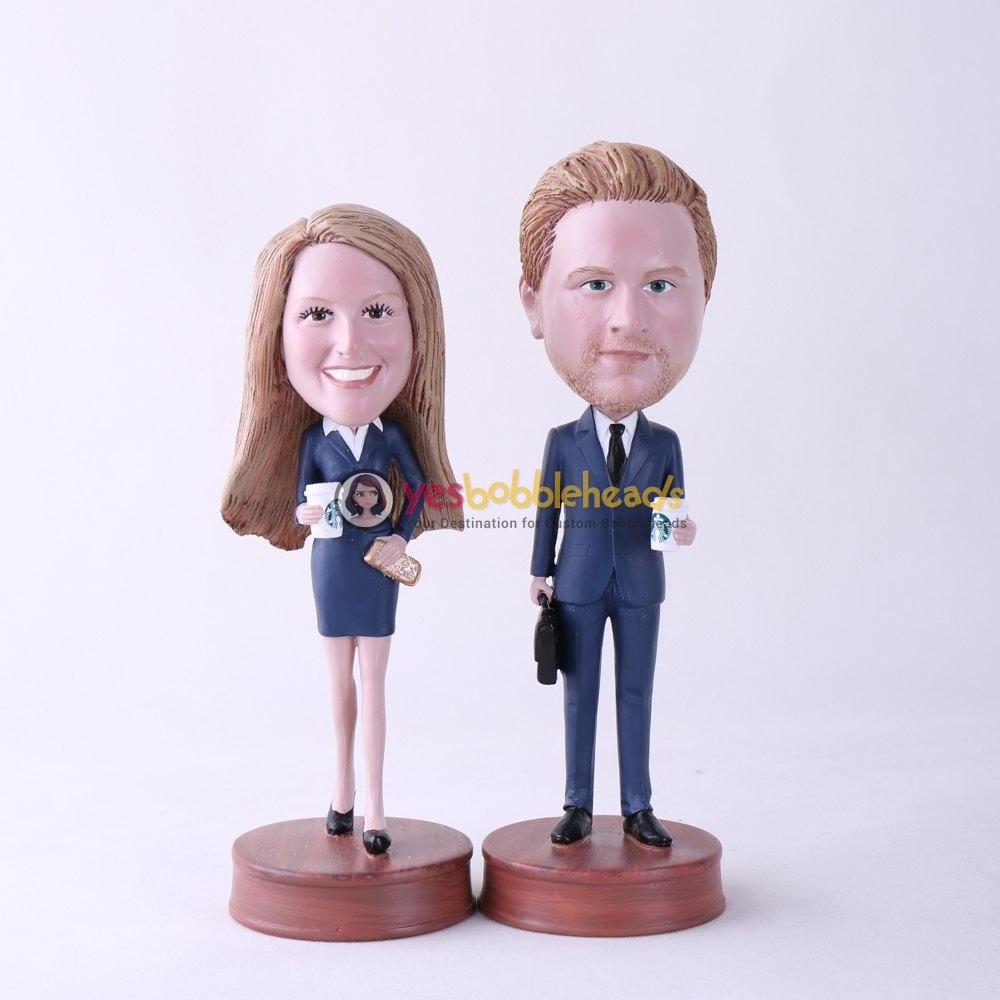 Picture of Custom Bobblehead Doll: Office Couple Holding Coffee