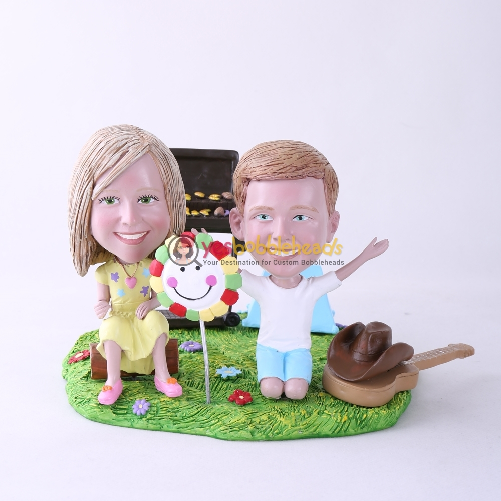 Picture of Custom Bobblehead Doll: BBQ Theme Daughter & Son