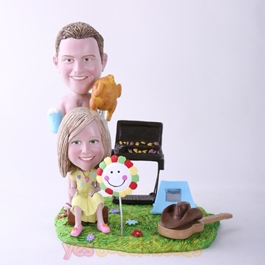 Picture of Custom Bobblehead Doll: BBQ Theme Father & Daughter