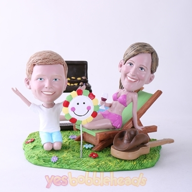 Picture of Custom Bobblehead Doll: BBQ Theme Mother & Son