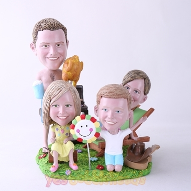 Picture of Custom Bobblehead Doll: BBQ Theme Family