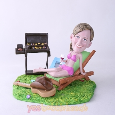 Picture of Custom Bobblehead Doll: BBQ Theme Woman On Deck Chair