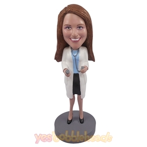 Picture of Custom Bobblehead Doll: Female Doctor Holding Stethoscope