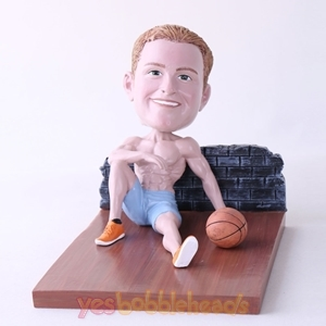 Picture of Custom Bobblehead Doll: Man Sitting On The Floor With Basketball