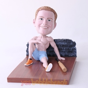 Picture of Custom Bobblehead Doll: Man Sitting On The Floor With Bat