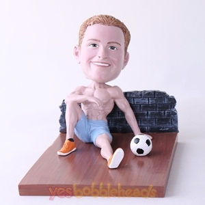Picture of Custom Bobblehead Doll: Man Sitting On The Floor With Soccer