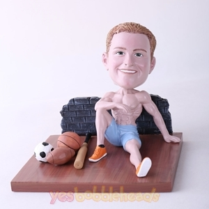 Picture of Custom Bobblehead Doll: Man Sitting On The Floor With Various Balls