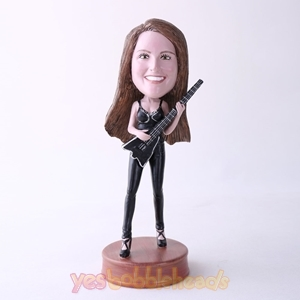 Picture of Custom Bobblehead Doll: Singing Woman With A Guitar