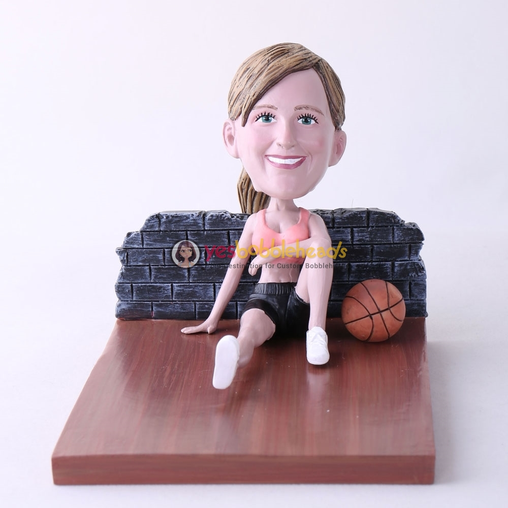 Picture of Custom Bobblehead Doll: Woman Sitting On The Floor With Basketball