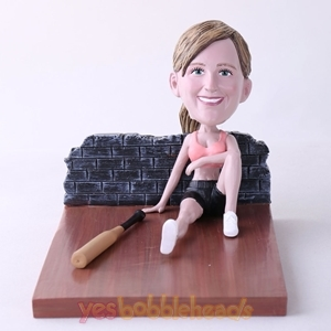 Picture of Custom Bobblehead Doll: Woman Sitting On The Floor With Bat