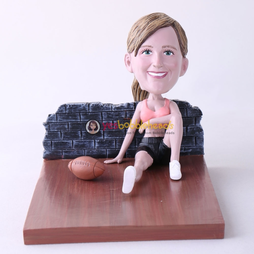 Picture of Custom Bobblehead Doll: Woman Sitting On The Floor With Football