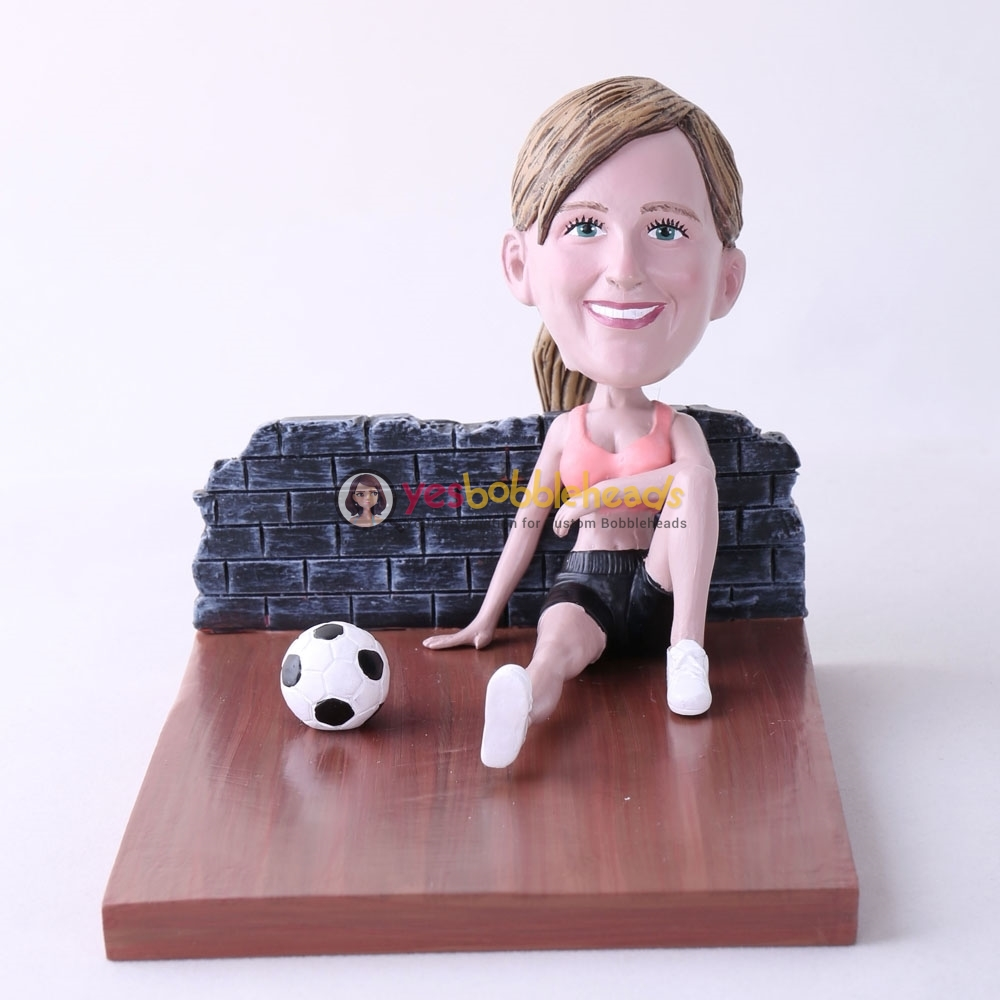 Picture of Custom Bobblehead Doll: Woman Sitting On The Floor With Soccer