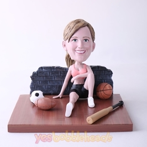 Picture of Custom Bobblehead Doll: Woman Sitting On The Floor With Various Balls