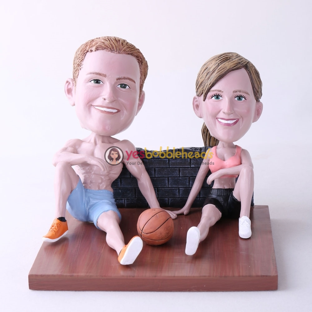Picture of Custom Bobblehead Doll: Couple Sitting On The Floor With Basketball
