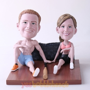 Picture of Custom Bobblehead Doll: Couple Sitting On The Floor With Bat