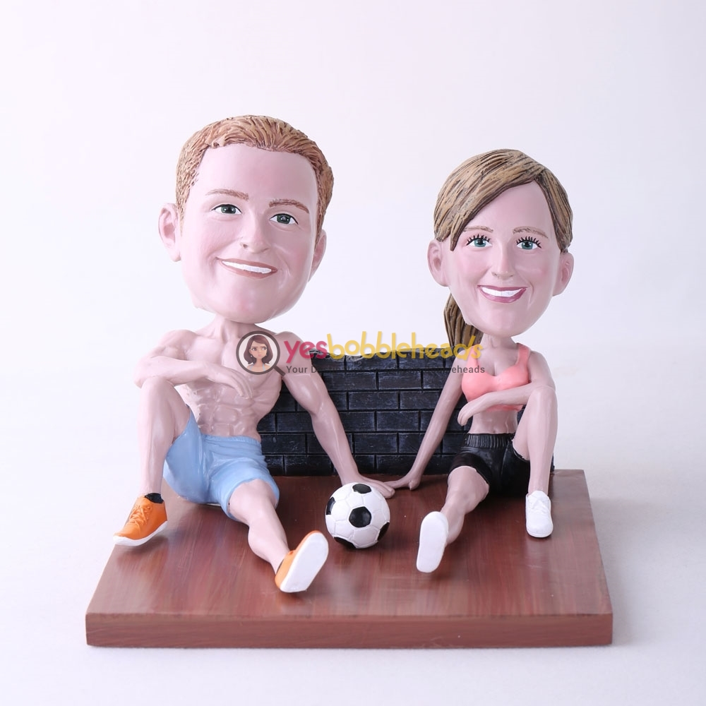 Picture of Custom Bobblehead Doll: Couple Sitting On The Floor With Soccer