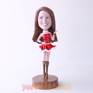 Picture of Custom Bobblehead Doll: Woman In Christmas Style Dress