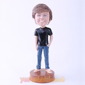 Picture of Custom Bobblehead Doll: Black T-shirt Casual Boy
