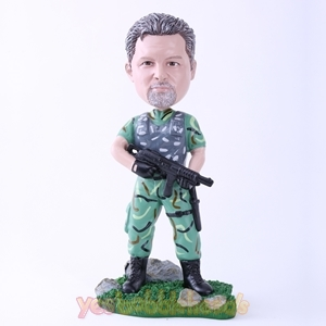 Picture of Custom Bobblehead Doll: Male Soldier Holding Machine Gun
