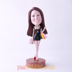 Picture of Custom Bobblehead Doll: Happy Shopping Woman