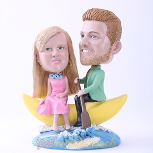 Picture of Custom Bobblehead Doll: Couple on Banana Boat