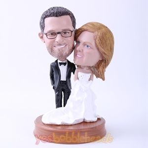 Picture of Custom Bobblehead Doll: Groom in Black Suit and Bride in White Dress on Wedding