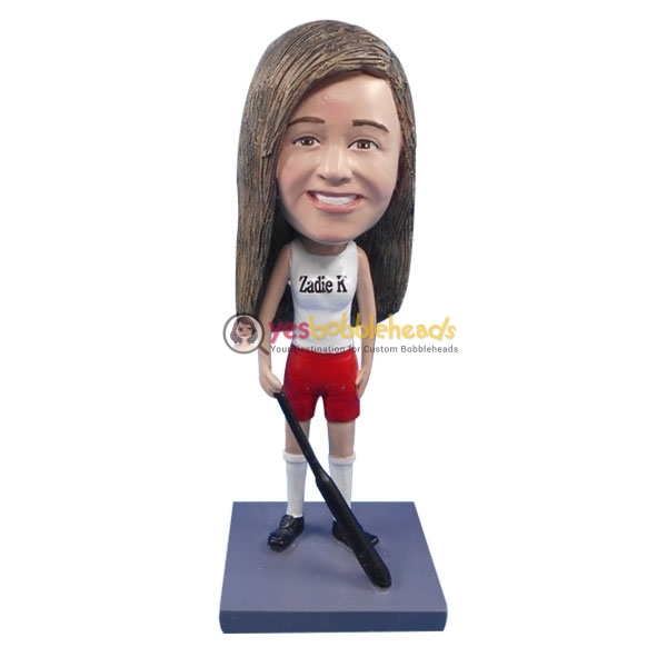 Picture of Custom Bobblehead Doll: Happy Girl Hockey Player
